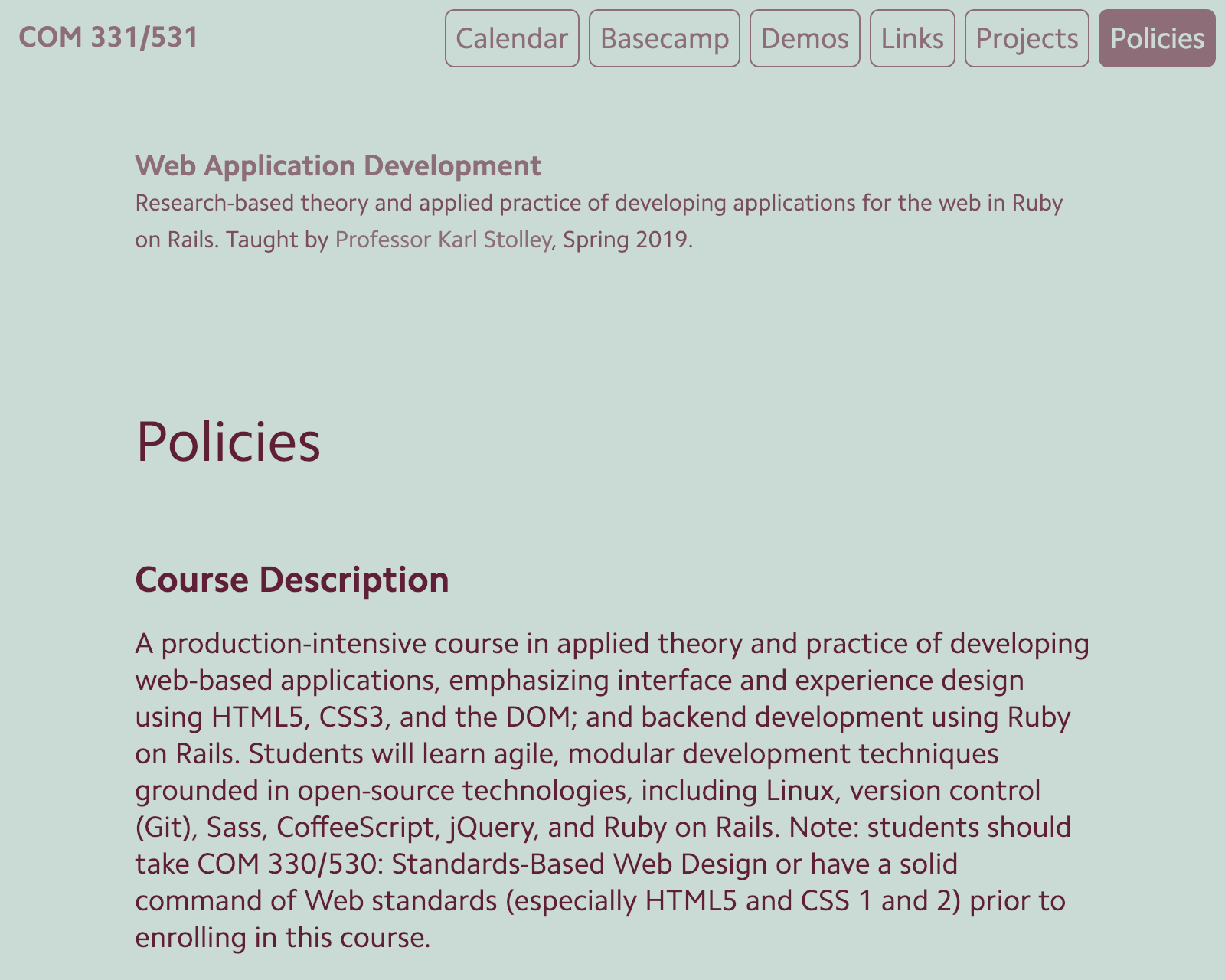 Screenshot of COM 331 site.